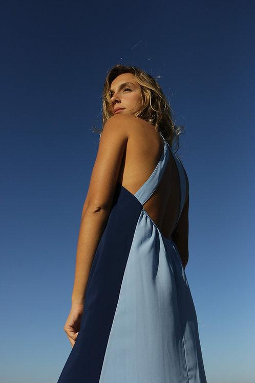 vestido longo gola sky+marinho