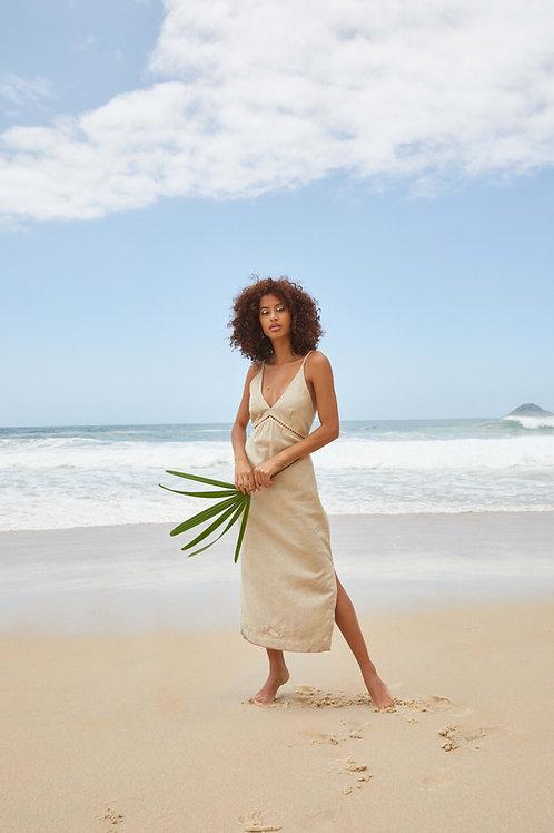 vestido entremeio linho areia