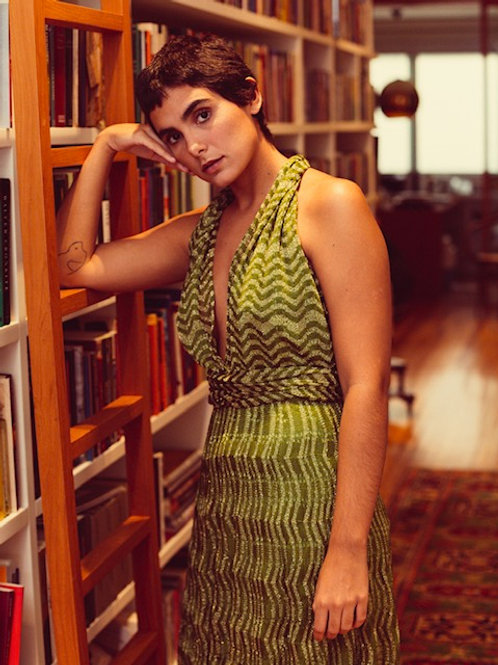 vestido amarrações tricot midi verde