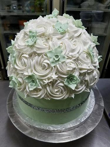 Flowery Green Cake