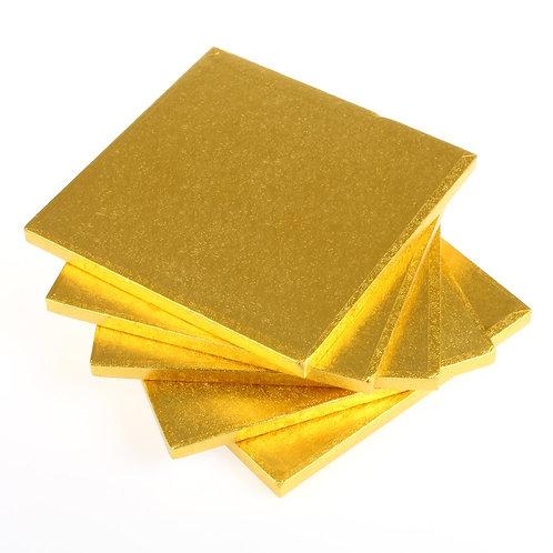 """1/4"""" Square Cake Drum   Gold"""