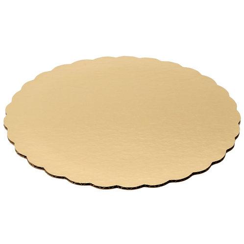Round Scalloped Cake Circle Gold