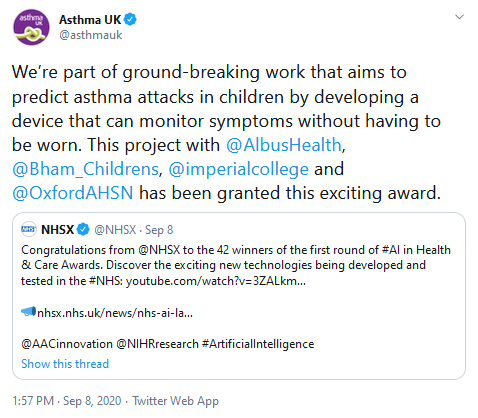 AI in Health & Care Awards.