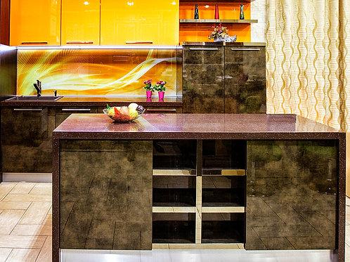 кухня оранжевый глянцевый фасад