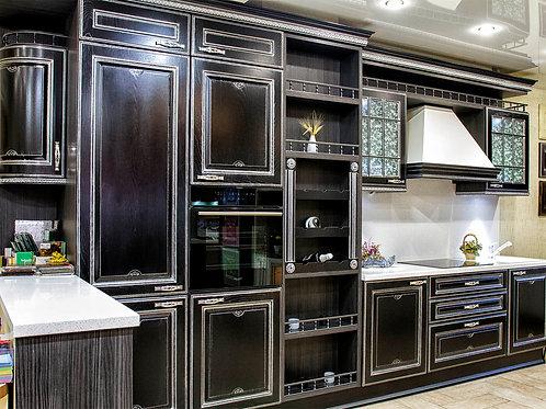 кухня прямая черная классика, массив ясеня в сереб