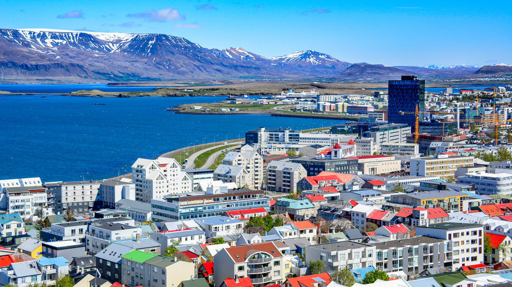 Mount Esja at the background of Reykjavik city