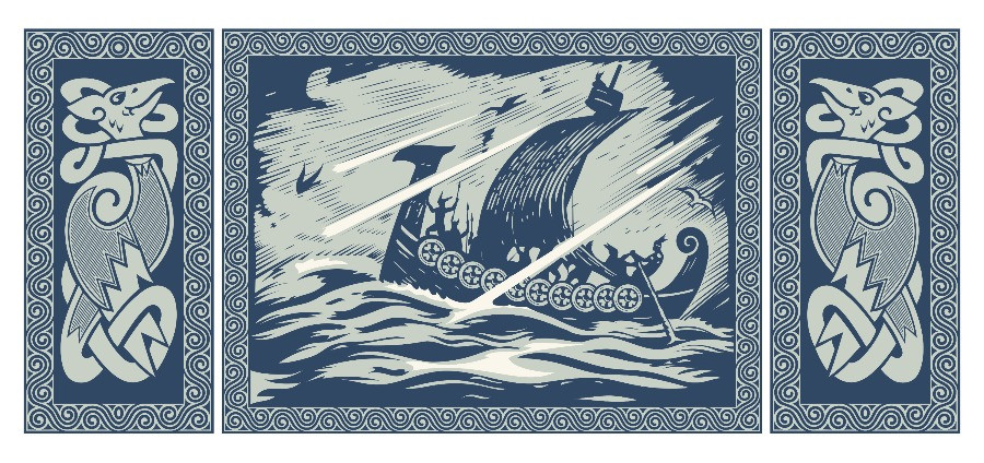 Iceland's folktales derive from the viking era, represented in the image