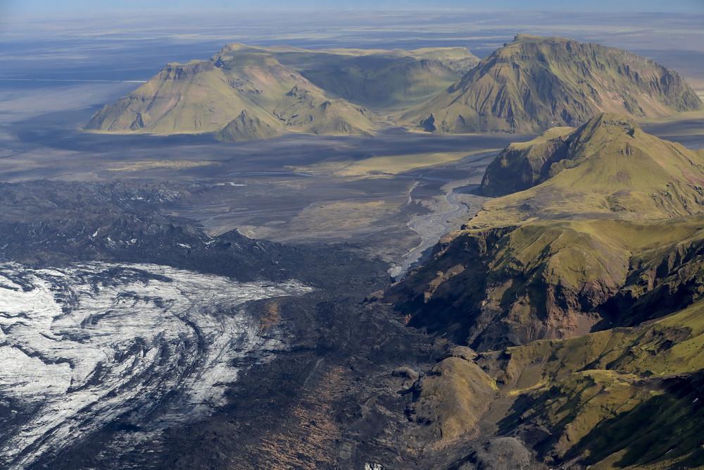 Vista aerea del vulcano Katla nel sud dell'Islanda