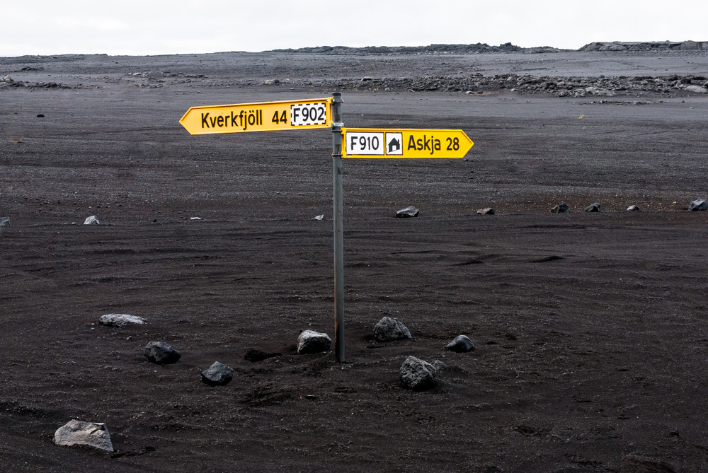 4x4 road in the north of iceland with road signs to head to Askja