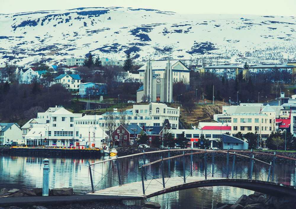 viste del centro di Akureyri nel nord dell'Islanda