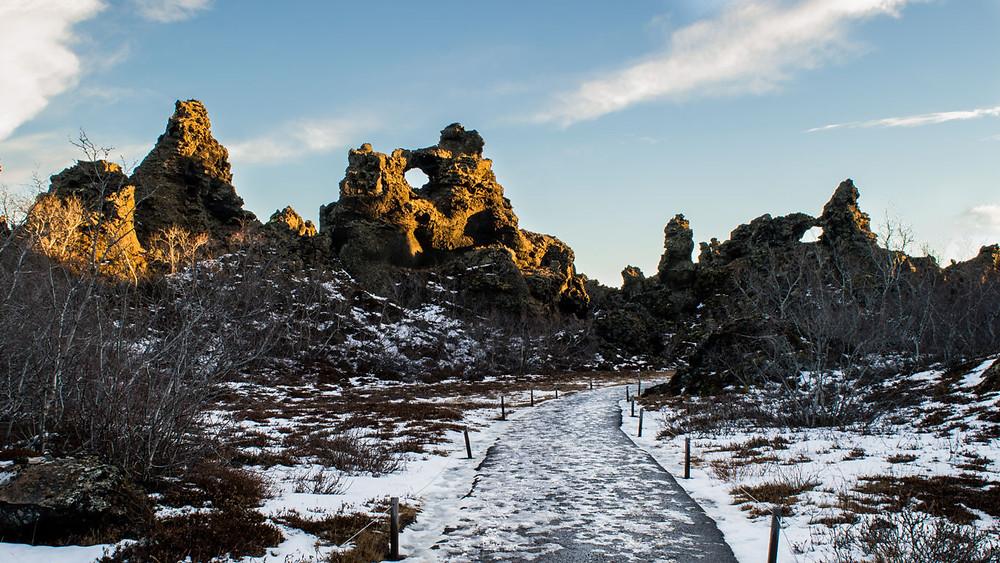 Dimmuborgir win winter with snow contrasting with the dark lava rock