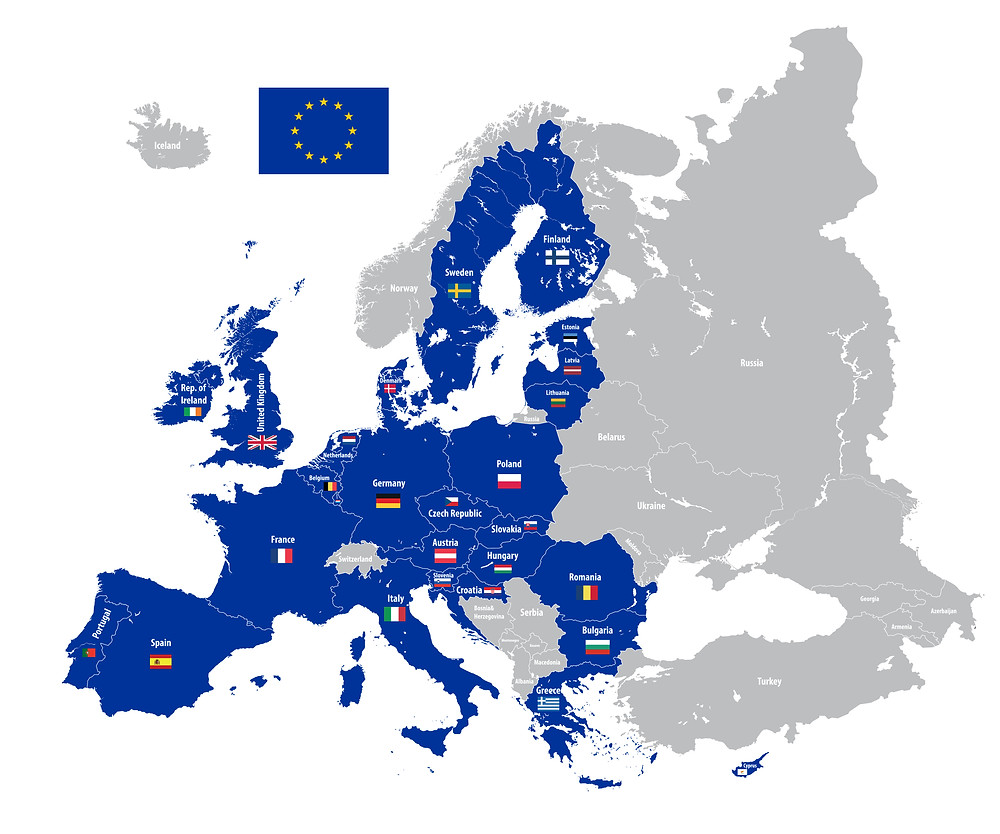 Map of member States of the EU - Iceland in the EU