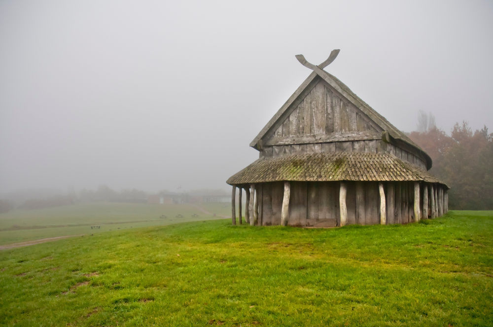 Traditional viking house and norse architecture