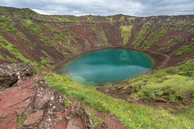 Kerid crater lake and caldera in Iceland