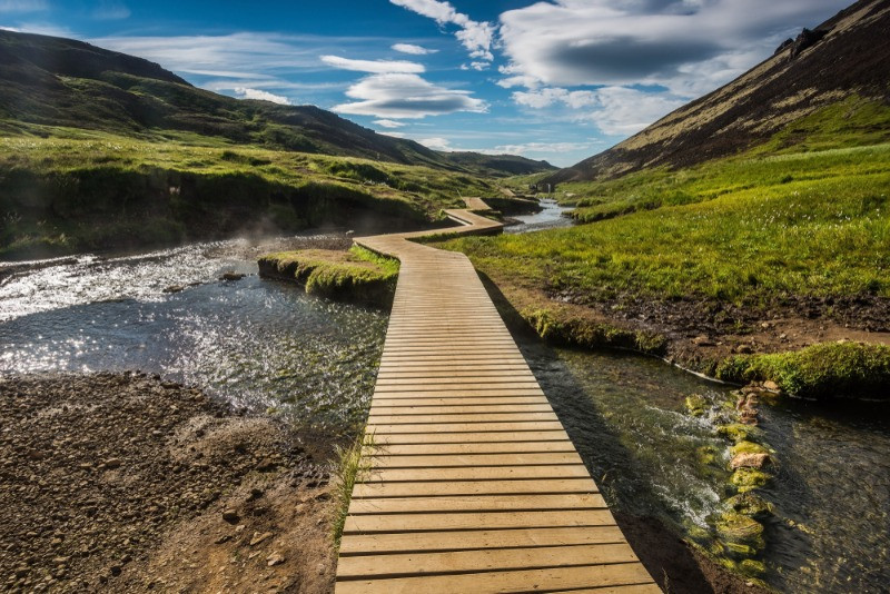 The Reykjadalur hot springs hike and hot river in Iceland