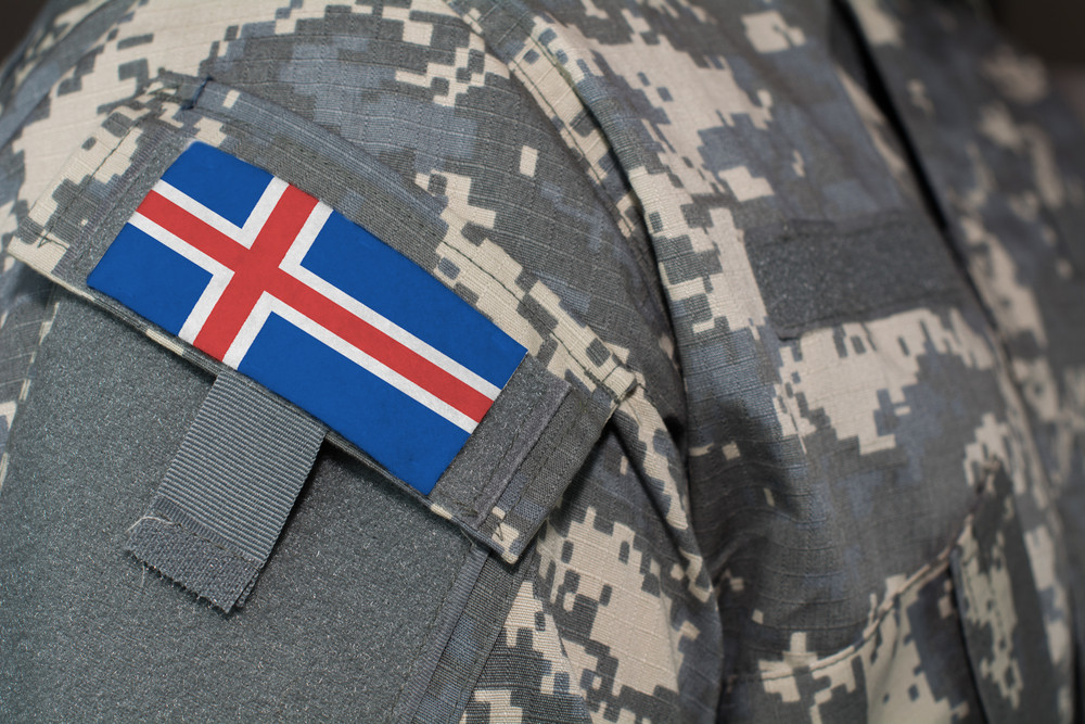 Iceland emergency response team with an icelandic flag on their arm