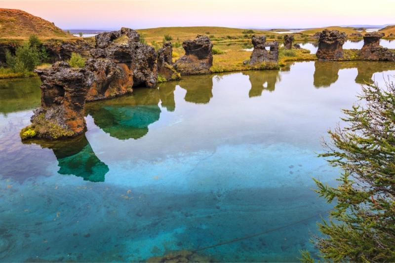Lake Myvatn volcanic lake in Iceland