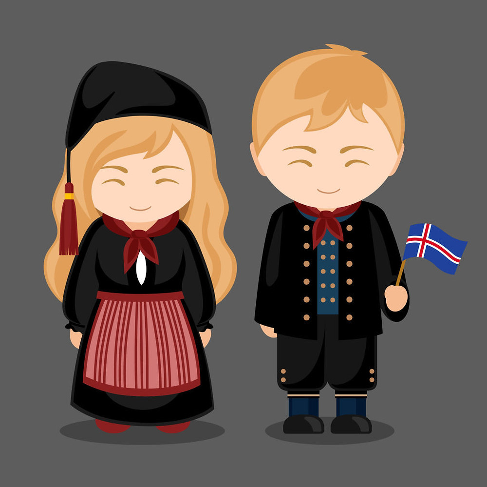 Cartoon of two icelanders dressed in traditional clothes as a representation of the Huldufolk