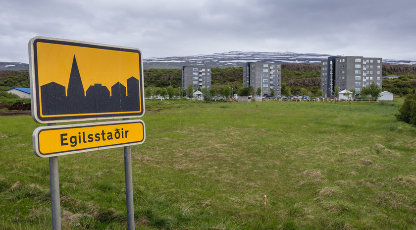entrance of a city road sign iceland