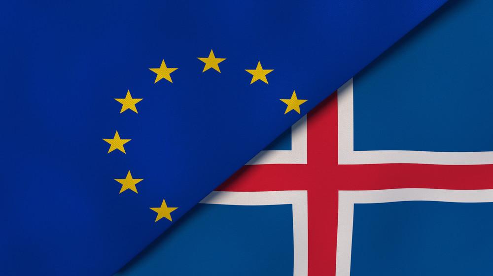 Banderas de Islandia y la unión Europea