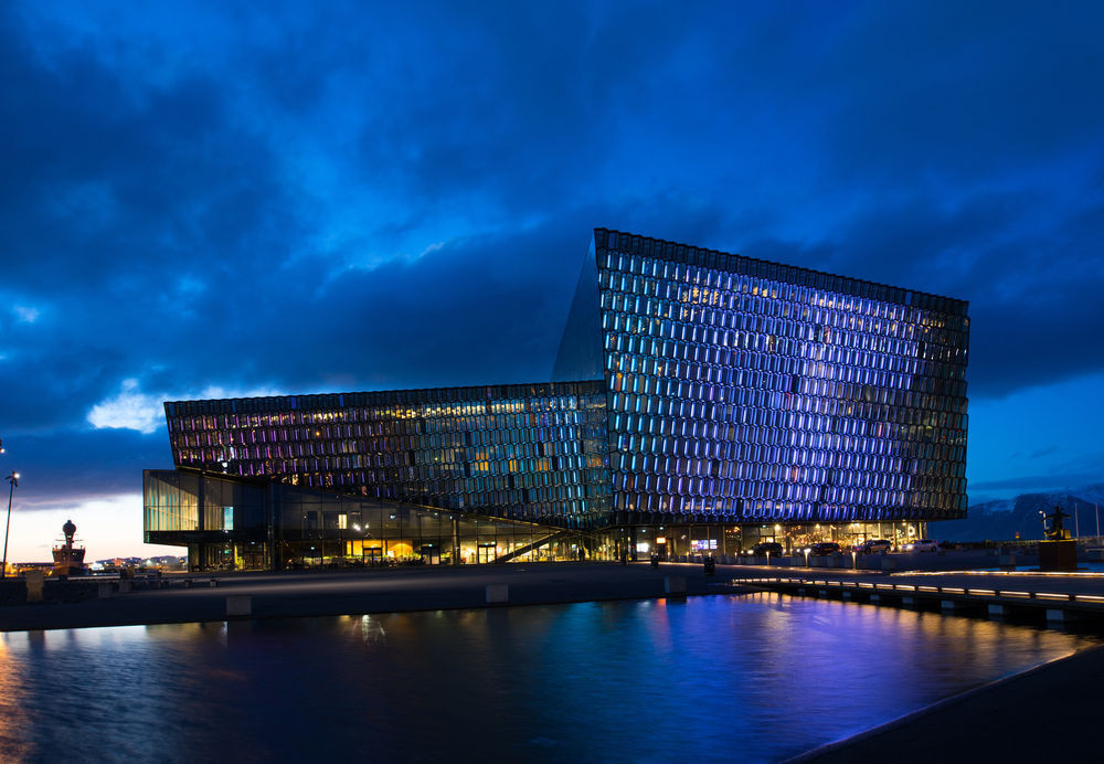 Harpa Concert Hall night view