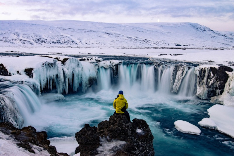 young man solo travel in Iceland