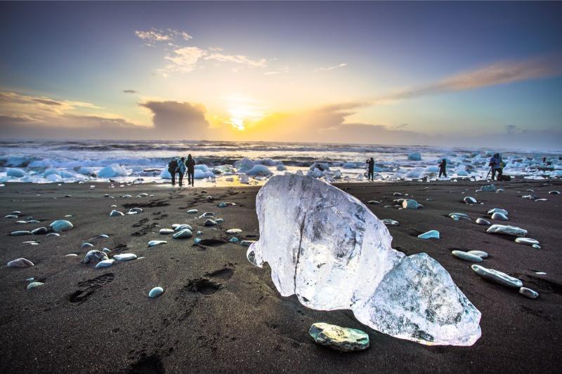 The Diamond Beach Iceland with icebergs on black sand beach