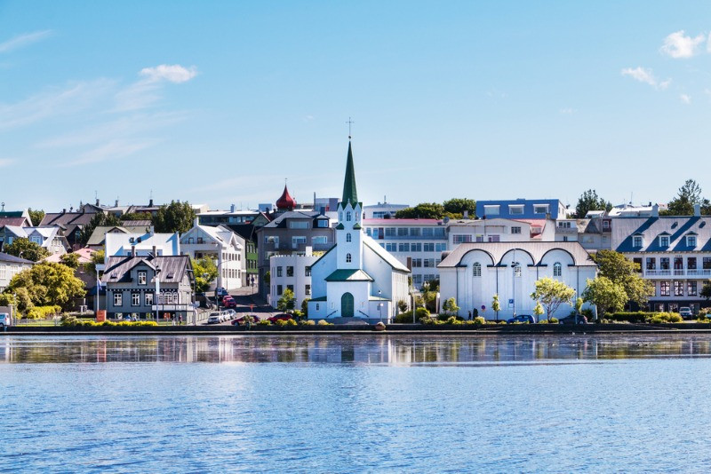 Views of Reykjavik downtown from lake tjornin