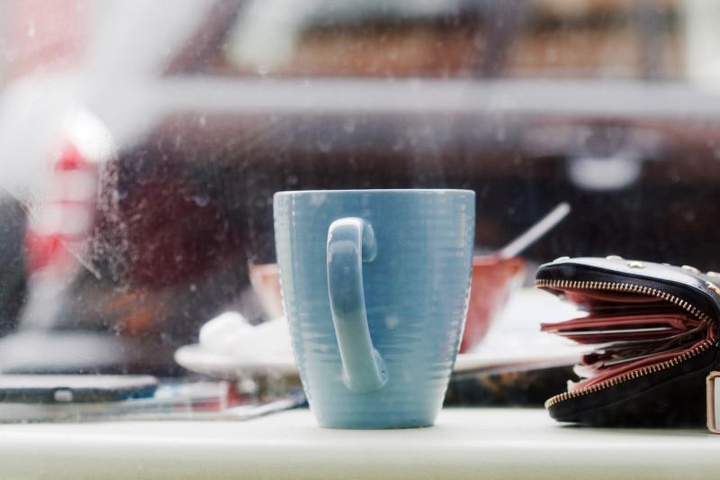 Coffee shop mug during Iceland shopping break