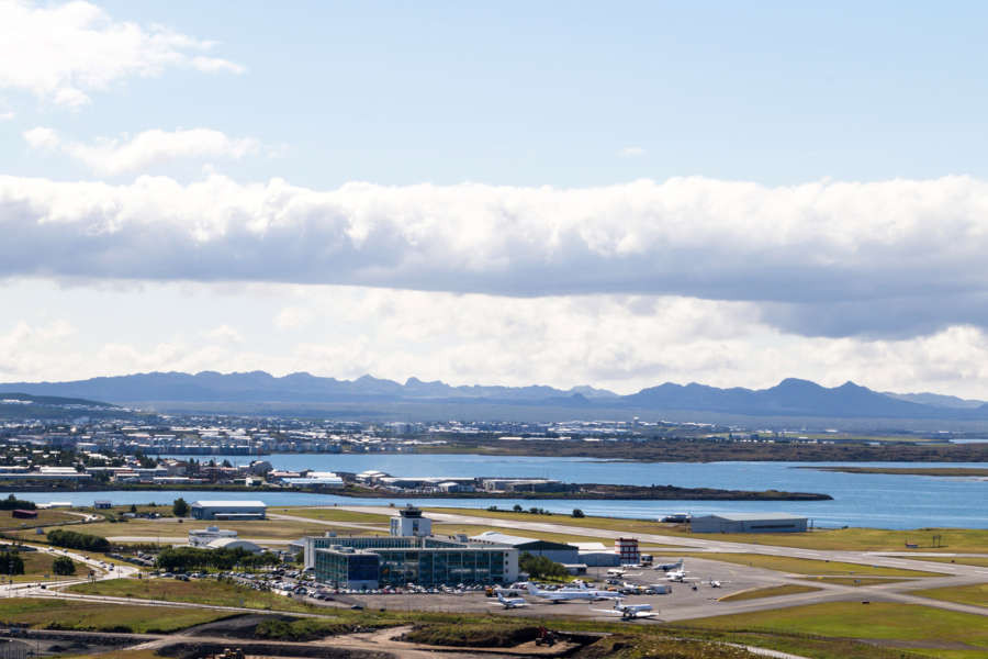 areal and panoramic view of Reykjavik Iceland airport