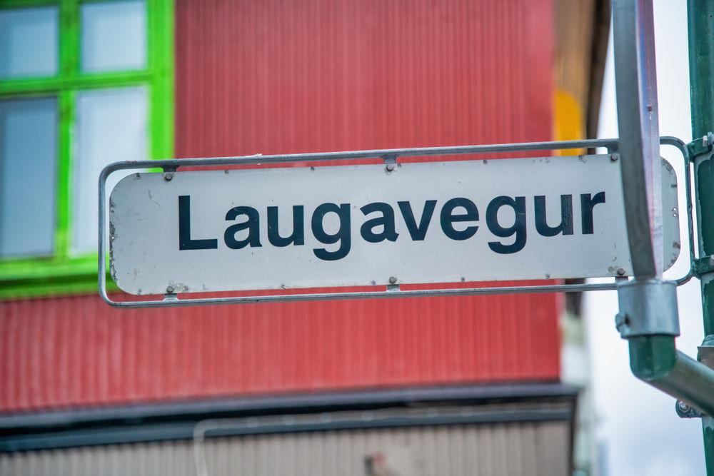 Laugavegur street sign, the main shopping street in Reykjavik