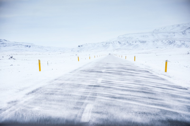 frosty roads as a constant when driving in Iceland in winter