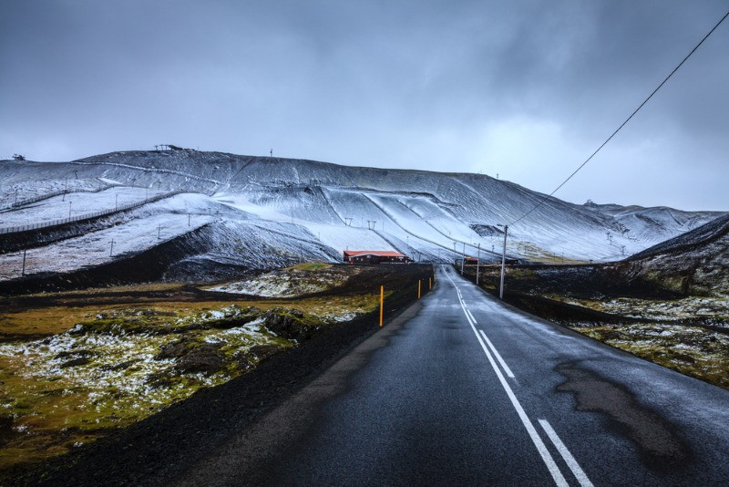 views of a ski station in iceland from the distance