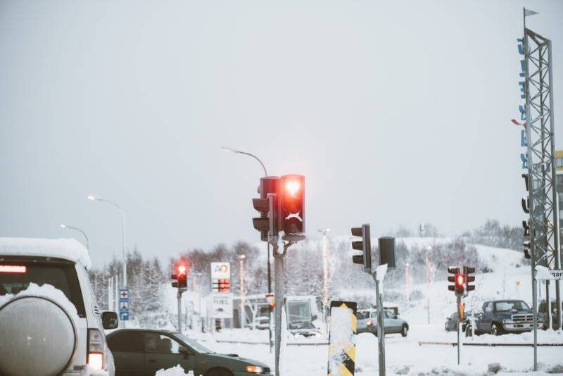 Heart shaped traffic lights in Iceland, in plain winter