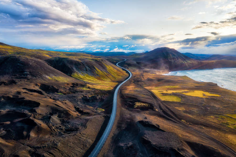 Panoramic picture showing how long the ring road in Iceland is