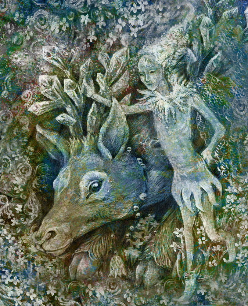 Representation of an elf with a reindeer as described in the Norse mythology