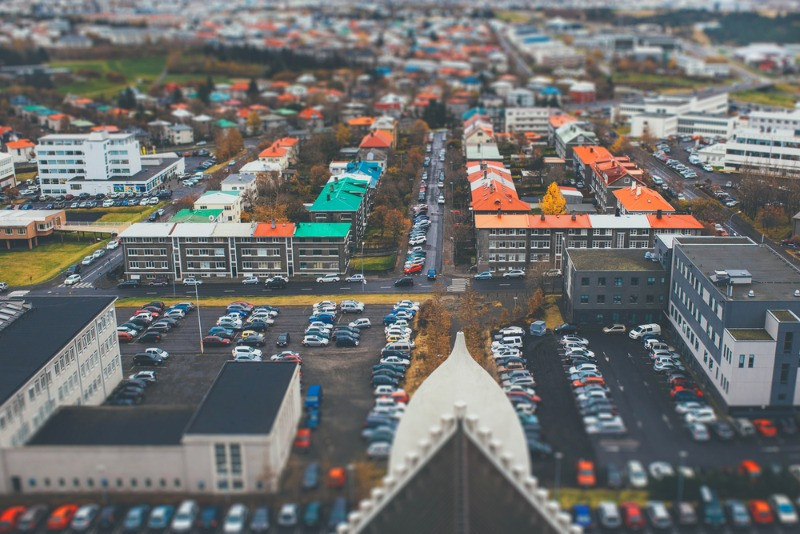 Parking lots in Reykjavik, areal view