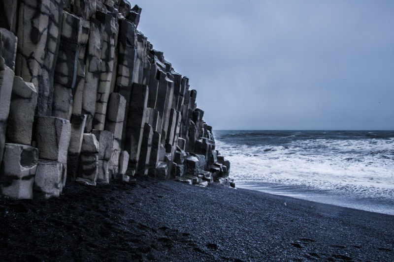 Hexagonal basalt columns at the black sand beach, Iceland