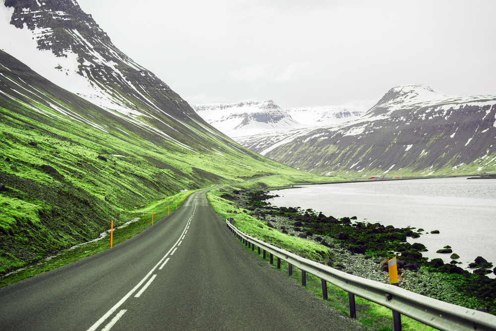 Scenic drive in Iceland, road along the coast of the Westfjords