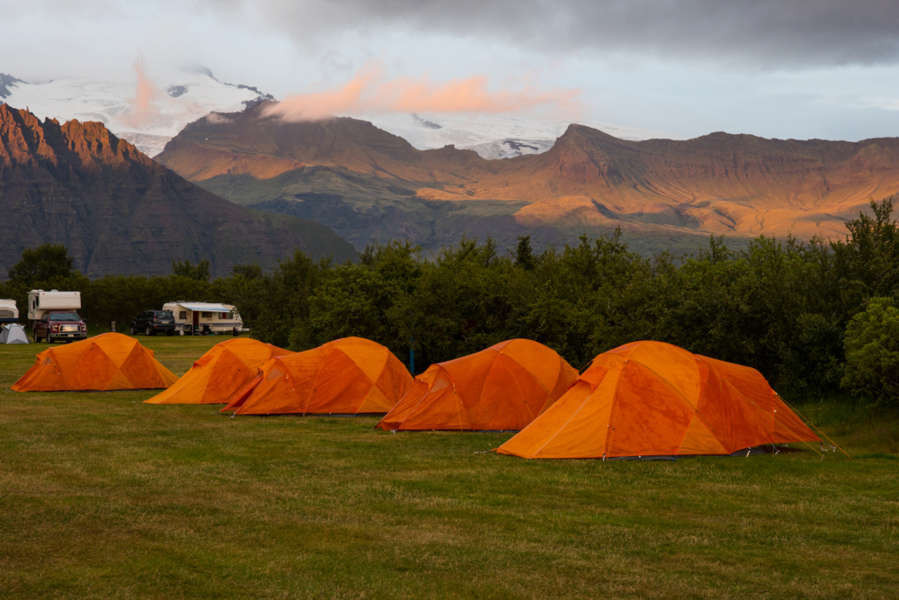 Skaftafell campground with a beautiful surrounding