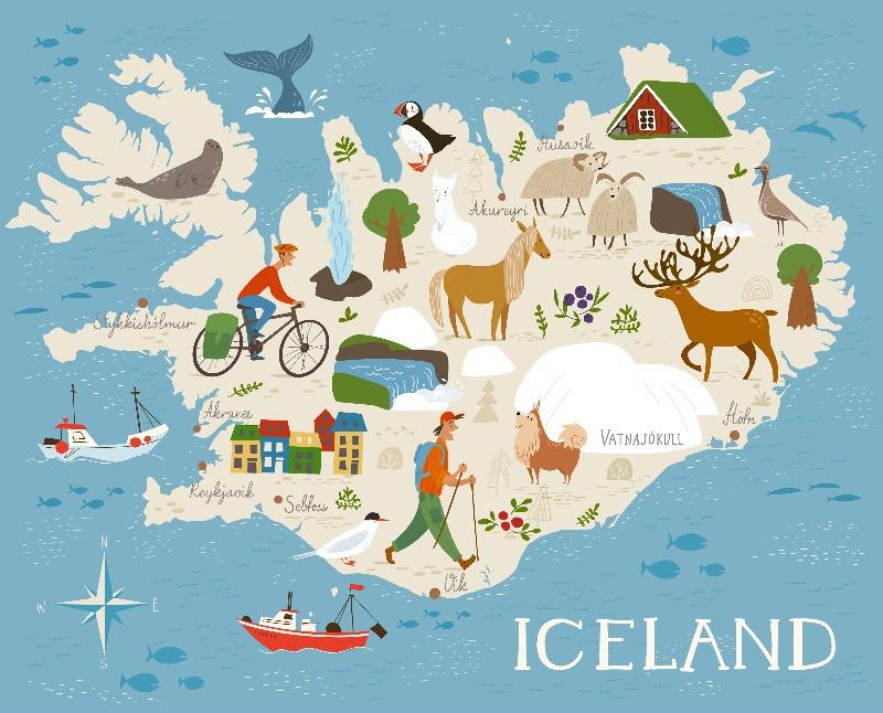 Mapa de Islandia con dibujos representado lo tradicional del país