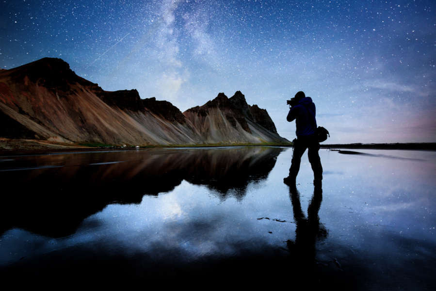 impressive location for photography tours in Iceland with starry skies and mighty mountains