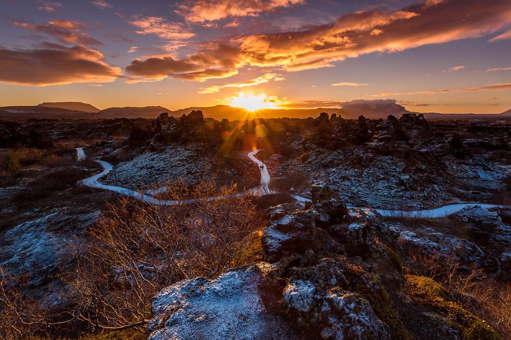 Dimmuborgir lava field at dawn