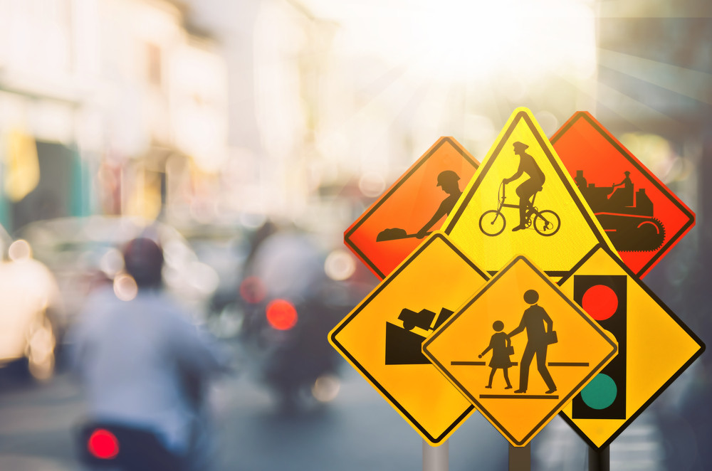 Traffic law and road signs for drivers
