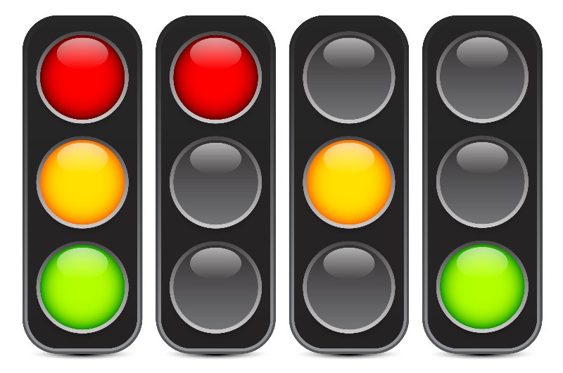 traffic lights in different colors
