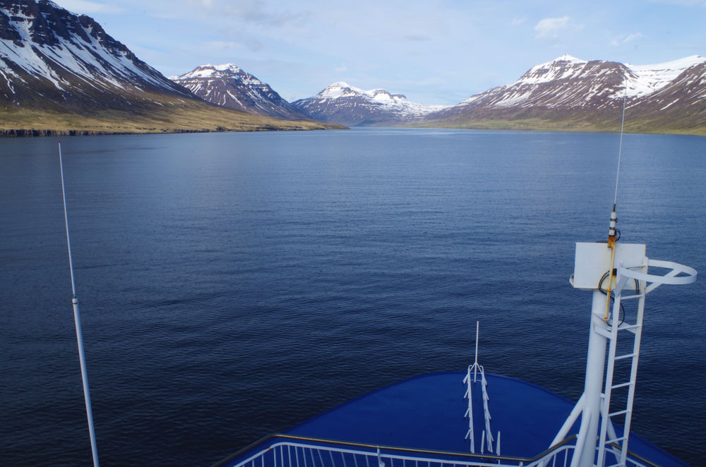 Iceland cruises route entering the Fjords