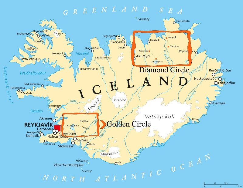 golden circle vs diamond circle map of Iceland with locations