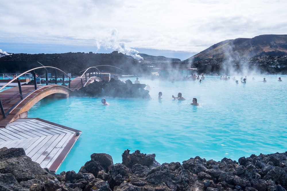 people relaxing at the blue lagoon in Iceland