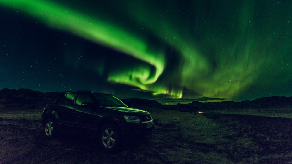Aurora Borealis sulla Ring road islandese