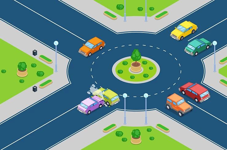 Graphic for an Icelandic roundabout showing the right of way